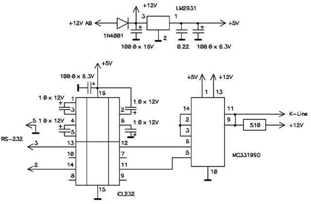 Cхема usb k line адаптера.